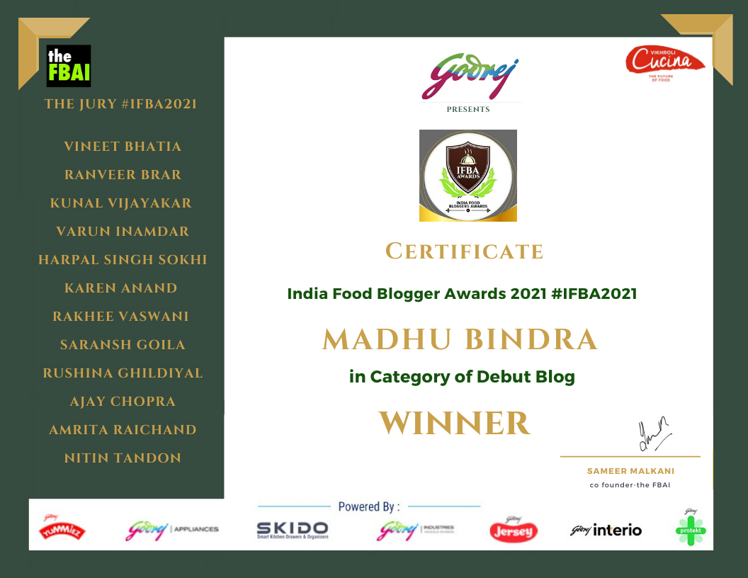 Winner, Best Debut Blog, Indian Food Bloggers Awards 2021